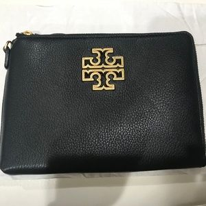 Tory Burch Britten Large Pebbled Leather Zip Pouch